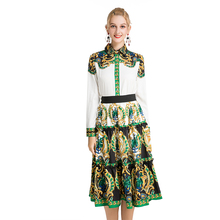 New Fashion Bohemia Women Sets Autumn Long Sleeve Blouses + Skirts Vin
