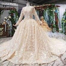 HTL525 flores vestidos de noiva manga longa o pescoço artesanal pesado lace vestidos de casamento 2019 keyhole voltar vestido de novia con mangá