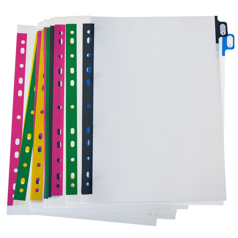 A4 Pure White 5/10/20sheets Soft Plastic Index Divider 11Holes Label Document Portfolio Binders Office School File Organizer