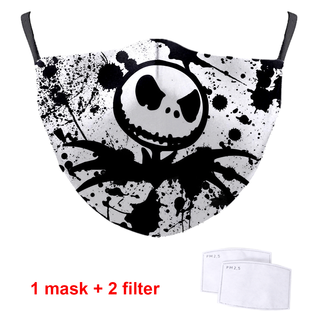 Jack Skellington Print 3D Masks Washable Soft Face Masks High Quality Protective PM2.5 Filter Respirator Streetwear Mouth Muffle