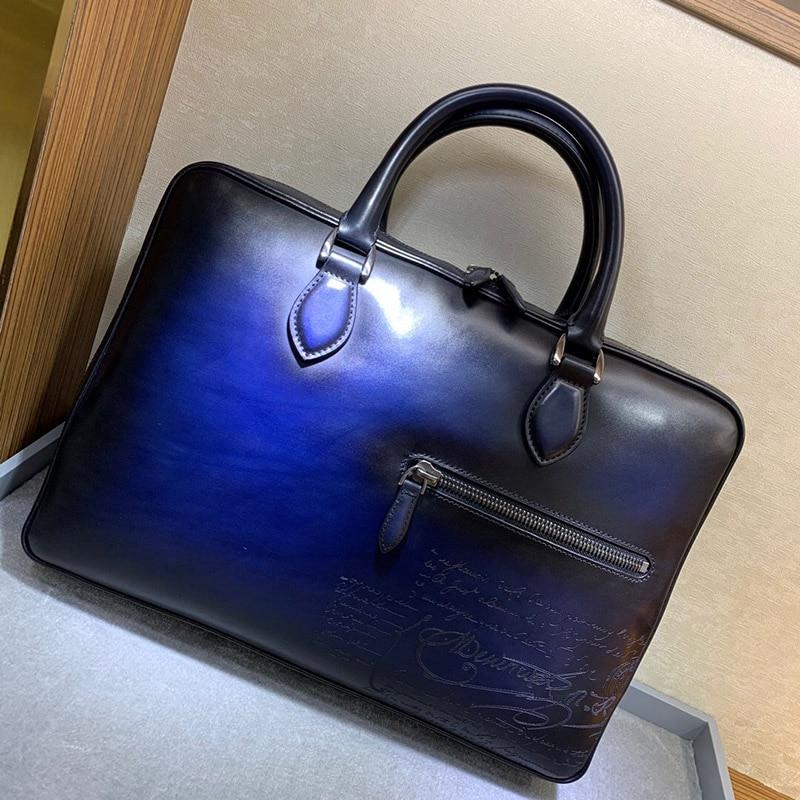Men Handbag Briefcase Bag High Quality Business Famous Brand Leather Shoulder Messenger Bags Office Handbag 15 Inch Laptop
