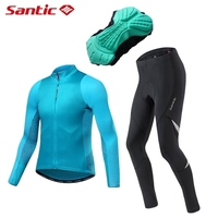 Santic Men Long Sleeve Cycling Jerseys Set Spring Autumn MTB Road Bike Top Jersey With 4D Padded Reflective Tight Pants Trousers