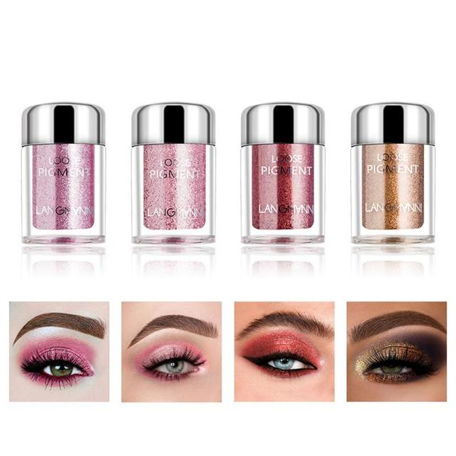 LANGMANNI Glitter Eye Shadow Metal Loose Powder Waterproof Flash Pigment Color Eye Shadow Powder Makeup Cosmetics TSLM1 6