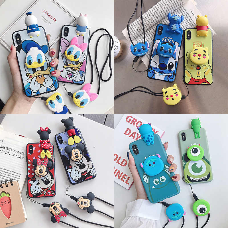 Mickey Donald Duck Lanyard Mobiele Telefoon Case Voor Iphone X Xs Xr Xsmax 8 766S Plus All-Inclusive soft Shell Drop Bescherming Cover