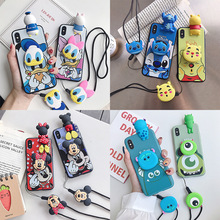 Mickey Donald Duck lanyard mobile phone case for iPhone X XS XR XSMax 8 766S PluS all inclusive soft shell drop protection cover