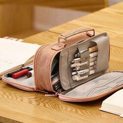 Coreano Grande Caixa de Lápis Lona Caixa de Lápis Bonito para Crianças de Dupla Camada De Armazenamento Portátil Saco Canetas Material Escolar Estuche Escolar