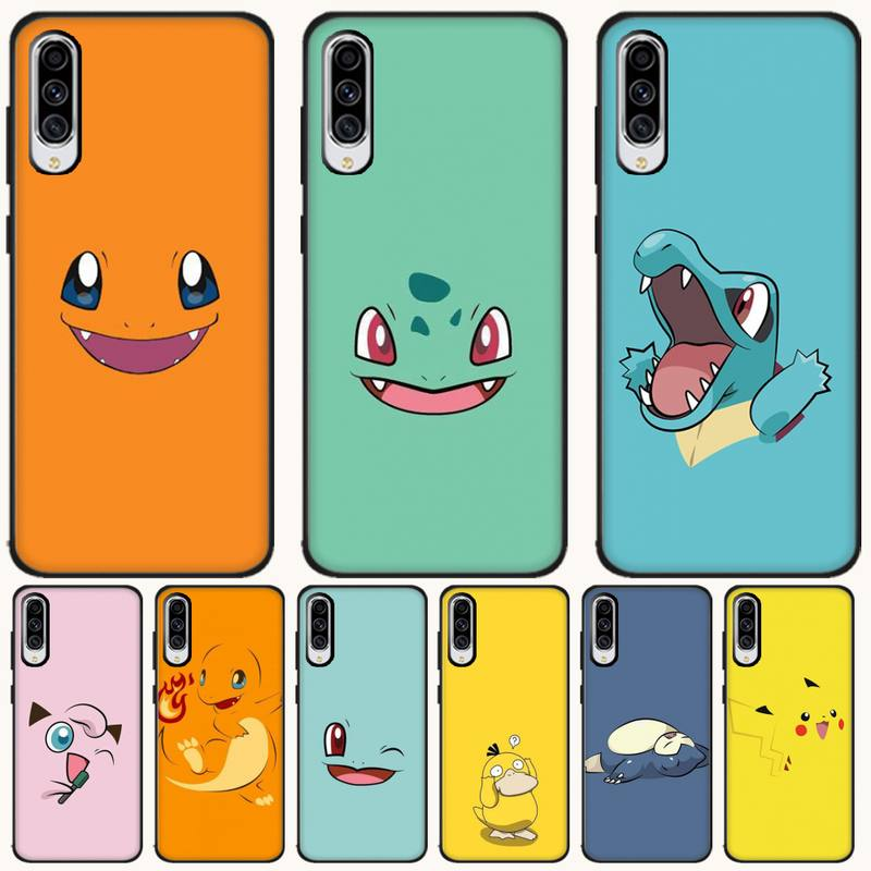Wumeiyuan Pokemon Cartoon Cover Black Soft Shell Phone Case For <font><b>Samsung</b></font> A6 6S 6Plus 7 720 <font><b>750</b></font> 8 8 PLUS 9 920 <font><b>2018</b></font> A8 A9STAR image