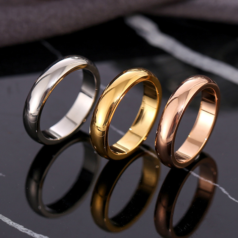 Fashion rose gold smooth circle ring Men's and Women's Exclusive Couple Wedding Ring High quality Simple Rings jewelry