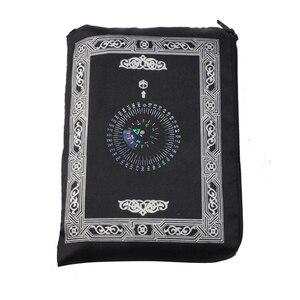 Image 3 - イスラム教徒祈りの敷物ポリエステルポータブル編組マット単にで印刷コンパスでポーチ旅行ホーム新スタイルマット毛布 100*60 センチメートル