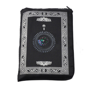 Image 3 - Muslim Prayer Rug Polyester Portable Braided Mats Simply Print with Compass In Pouch Travel Home New Style Mat Blanket 100*60cm