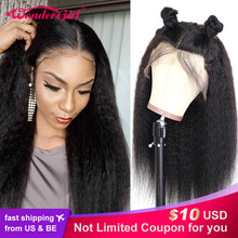 Transparent Lace Wig Human-Hair-Wigs Girl Kinky Straight Women Middle-Part Preplucked