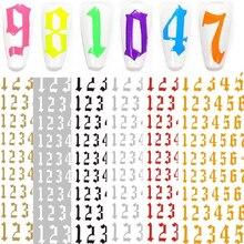 12-cor número padrão etiqueta do prego decoração 3d arte do prego adesivos inglês antigo fonte árabe numeral decalques designer folha de unhas