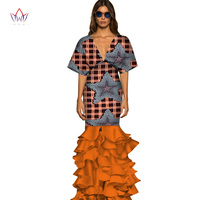 2020 Summer Women Clothing Deep v neck African Dresses for Women plus size African short sleeve party long dress 4xl WY3104