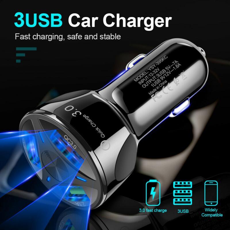 1 pçs 3 usb carregador de carro qc 3.0 multi-função três adaptador 12v rápido carregador de carro do telefone móvel para o iphone xs 11pro huawei p30 pro