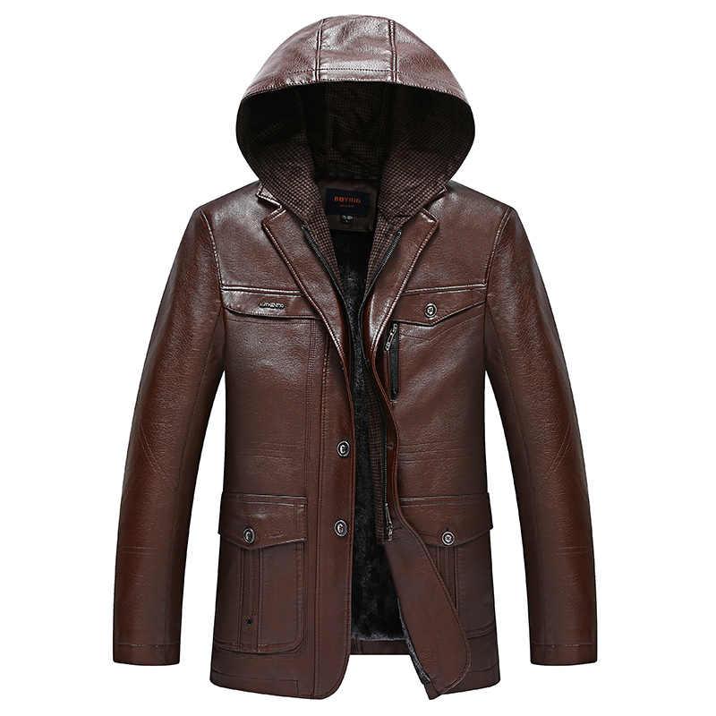 Winter Mannen Leather Suede Jacket Fashion Brand Kwaliteit Fleece Gevoerde Motorfiets Faux Lederen Jassen Mannelijke Bovenkleding Zwart