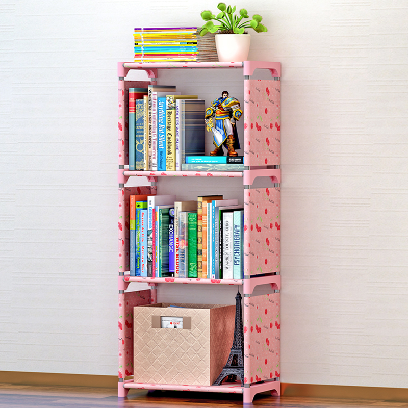 Cheapest Small Desk Bookshelf Children Bookcase Free Combination Shelf Simple Storage Cabinet