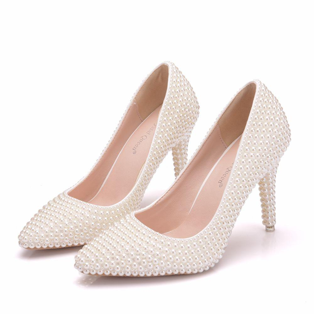 Crystal Queen High Thin Heels Shoes Women Pumps Beige Pearls Bride Shoes Female 9cm Heels Wedding  Beads Party Ladies Shoes
