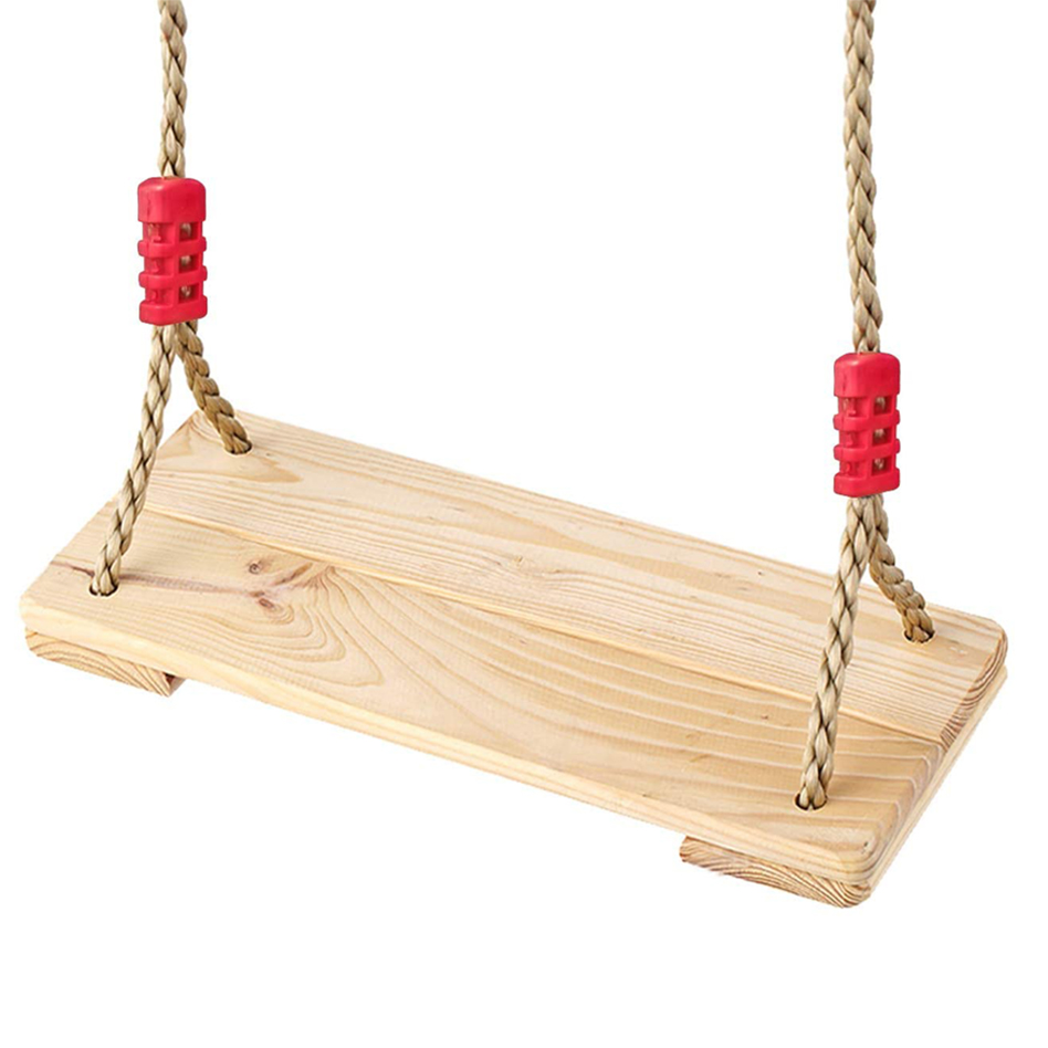 Kids Wooden Tree Swing, Outdoor Swings Seat for Children and Adults, Toddler Jungle Gym for Outside and Backyard
