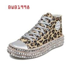BWB Women Sneakers Sexy Leopard Fashion Rivets Women Canvas Shoes