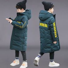 Russia Snowsuit 2021 Winter Boys Long Over-Knee Coat Clothes Waterproof Windproof Outdoor Thicken Hooded Parka Jacket For Kids