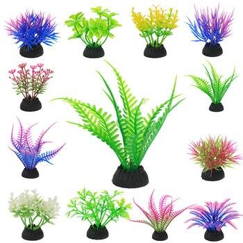 Plastic Water Plant Grass Aquarium Decorations Plants Fish Tank Grass Flower Ornament Decor Aquatic Accessories