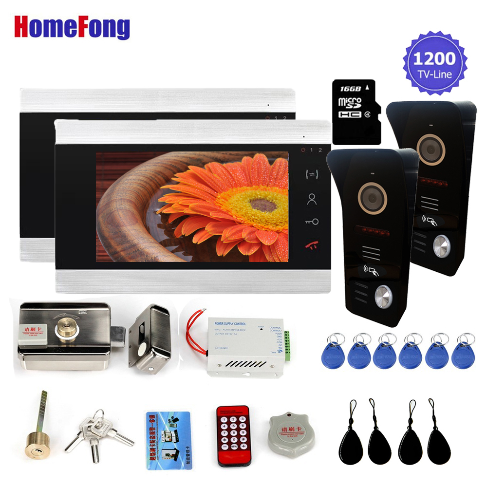 Homefong Video Intercom 7 Inch Wired Video Door Phone System Door Access Control System With Lock RFID Card