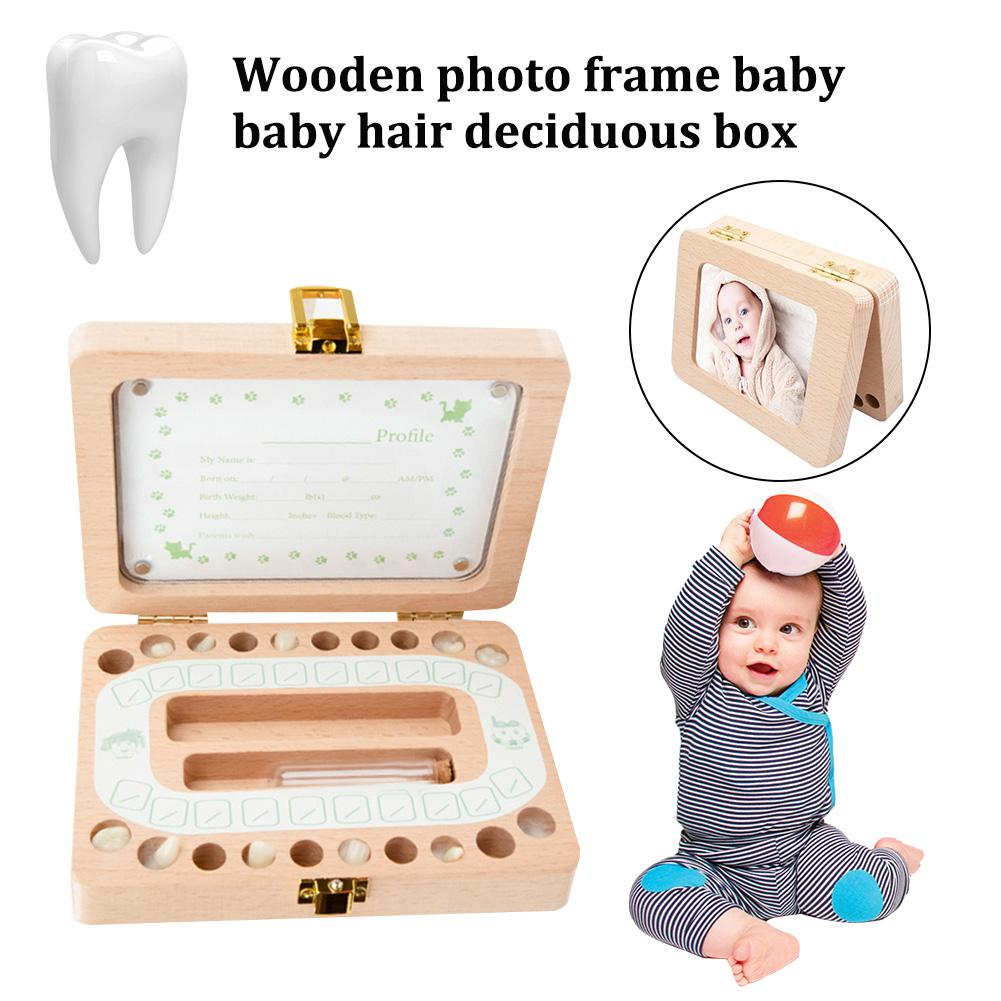 Newest Wooden Photo Frame Fetal Hair Deciduous Tooth Box Children English Storage Box For Gift Boys Girls Baby For Baby Gift