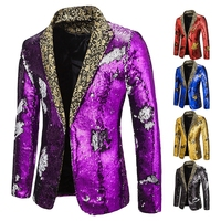 Bright Changeable Color Glitter Suit Jacket Men's Cool Performance Costume Stage Clothing Male Sequin Blazer Party Wear DN5084