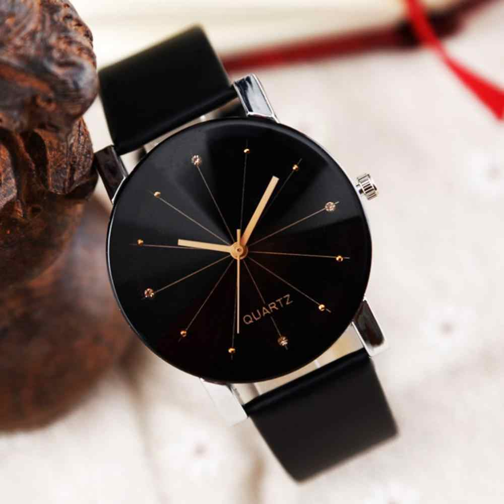 Watch Women Men Leather Strap Line Quartz Ladies Wrist Watches Fashion Watch reloj mujer
