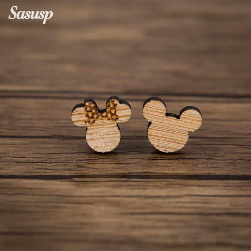 Sasusp Gỗ Hình Thú Bông Tai Nữ Mickey Cáo Cần Trục Thỏ Con Nhím Bông Earings Cho Chị Em Con Gái Trang Sức Quà Tặng 2019
