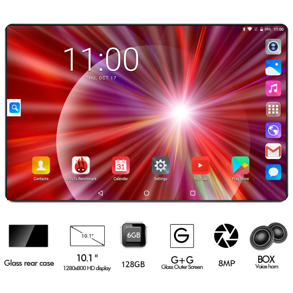 Super 2.5D Glass 10 Inch Tablet Octa Core 6GB RAM 128GB ROM 4G FDD LTE 1280x800 Dual SIM Card Android 8.0 Tablet 10.1 Pad Gifts