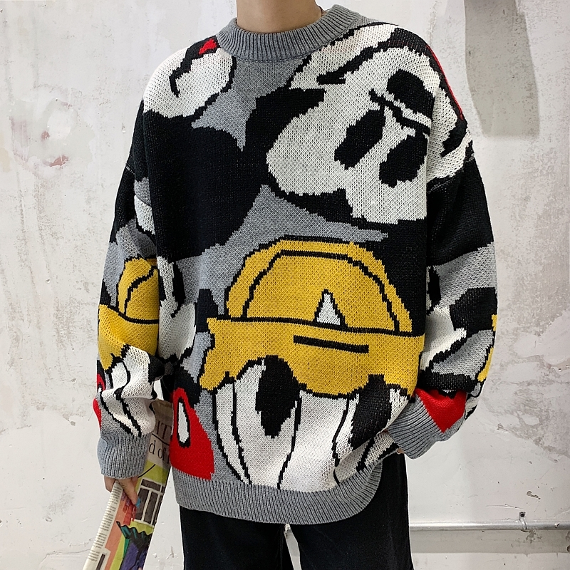 2019 Winter New Korean Version Of The Trend Couple Theme High Quality Jacquard Wild Loose Casual Sweater
