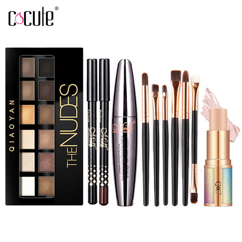 Cocute 5Pcs Make-Up Set Box Maquillaje Profesional Lidschatten-palette Augenbrauen Stift Mascara Highlighter Stick Make-Up-Kits Für Frauen