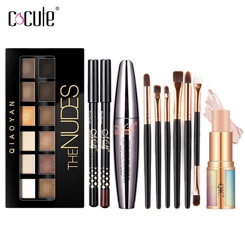 Cocute 5 set de piezas de Maquillaje caja de Maquillaje Profesional paleta de sombra de ojos cejas lápiz Maquillaje resaltador palo Kits de Maquillaje para las mujeres