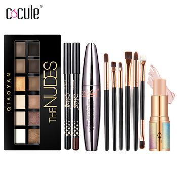 Cocute 5 sztuk zestaw do makijażu Box Maquillaje Profesional Eyeshadow paleta brwi Pen Mascara rozświetlacz w ołowku zestawy do makijażu dla kobiet tanie i dobre opinie 170g safe 4pcs COA0001HZS4ZH01