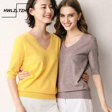 HWLZLTZHT Knit Loose Women's Shirt Autumn Cashmere Sweater Cotton Shirt