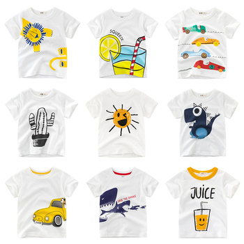 White T Shirt Boys Kids Girls Children Tops Clothing Cotton Cartoon Toddler Clothes Short Sleeves Tee Summer Infant 2-8 Years children t shirt long sleeves kids boys girls cotton tops baby dinosaur print cartoon clothing tee 2 8 years clothes full