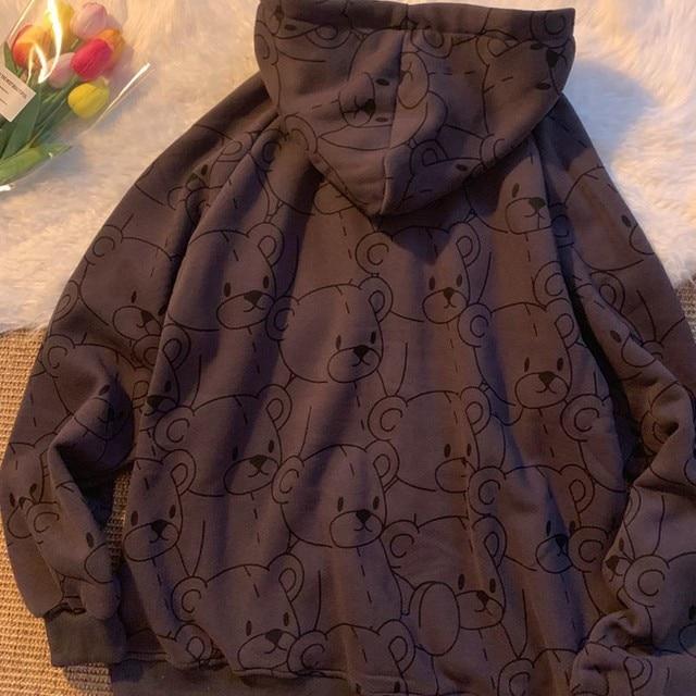 Summer 2021 Fashion Zip Up Cute Bear Sweetshirt Vintage Long Sleeve Spring Clothes Women Hoodies Coat Loose Harajuku Tops 3