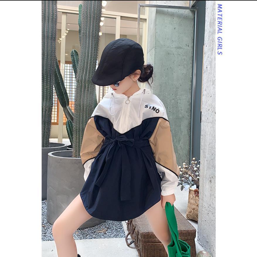 Spring autumn trench coat girls clothes children long coats streetwear elegant korean thin outerwear tops teenage coats ws999