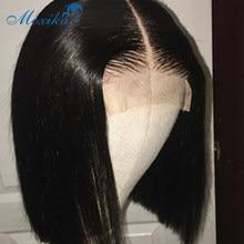 Perruque Lace Wig naturelle péruvienne Remy, cheveux courts et ondulés, 4x4, pre-plucked, avec Baby Hair, 150