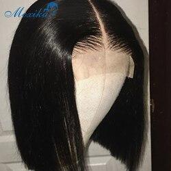 Péruvien cheveux corps vague perruque court ondulé court Bob perruque Remy 150 pré plumé avec bébé cheveux dentelle perruque cheveux humains 4x4 fermeture perruque