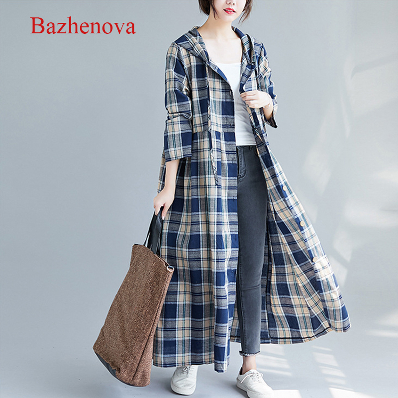 Bazhenova Women Linen Dress Girls Plaid Elegant Loose Autumn Dresses Woman All-match Hooded  Large Size Simple Clothes R176