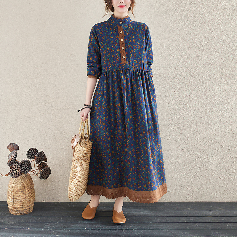 NYFS 2021 New Spring Autumn Vintage Small floral Lacework Long sleeve Woman Dress Vestido de mujer Robe Elbise Dresses for Women