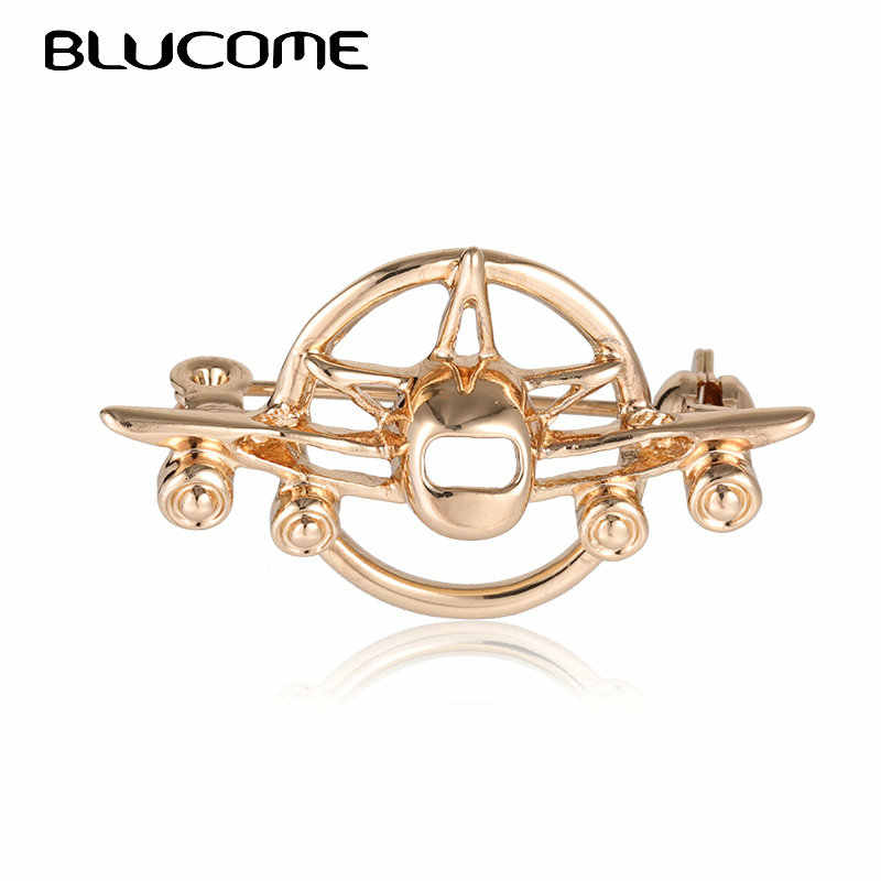 Blucome Vintage Airplane Aircraft Brooches Badge Suit Collar Clip For Women Men Hat Scarf Pins Plane Model Brooch Christmas Gift