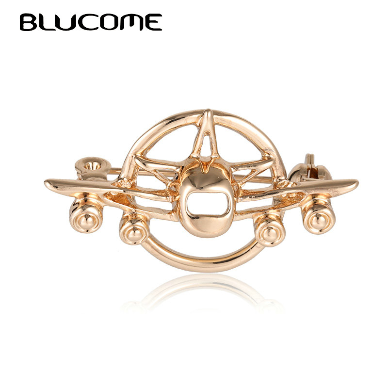 Blucome Vintage Airplane Aircraft Brooches Badge Suit Collar Clip For Women Men Hat Scarf Pins Plane Model Brooch Christmas Gift image