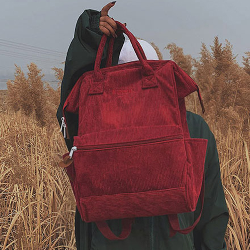Women's Bags Corduroy Backpacks For Women 2019 Casual Ladies Solid Color  Ladies Schoolbag For Teenagers Girls School Backpack