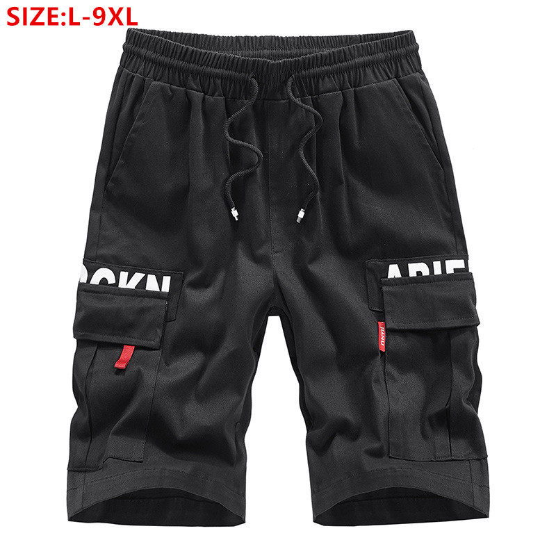 Cargo Shorts Men Cotton Mens Summer Man Black Plus Size 6XL 7XL 8XL 9XL Loose Casual Male Pocket Elastic Blue Stretched Short