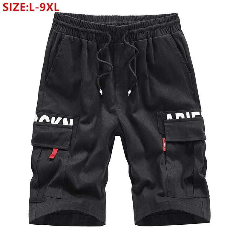 Cargo Shorts Men Cotton Mens Summer Man Black Plus Size 6XL 7XL 8XL 9XL Loose Casual Male Pocket Elastic Blue Stretched Short