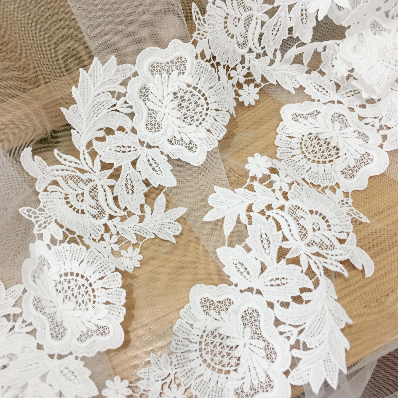 2 Yards Exquisite Venice Embroidery Crochet 3D Lace Trim Bridal Veil Lace Gown FlowerLeaf Motif Applique Trim 9 cm wide in Lace from Home Garden
