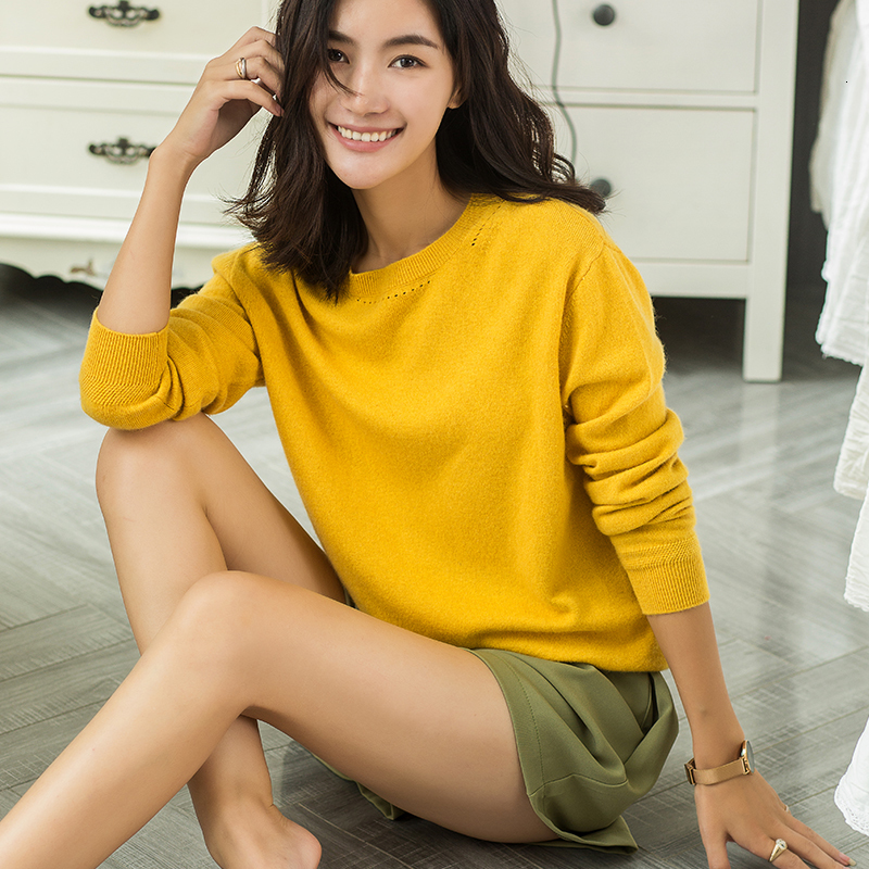 Sheep Taipei 18 New Women Sheep Neck Round Cashmere Sweater Autumn Color Solid Thin Knitted Sweater Round Collar Shirt